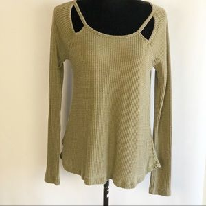Altar'd State Waffle Knit Thermal Top Size M Brown